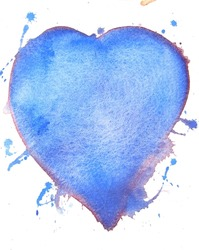 blue watercolor heart background