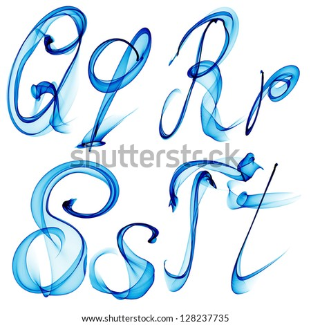 blue watercolor, ink font letter Qq Rr Ss Tt isolated on white background raster Stock fotó ©