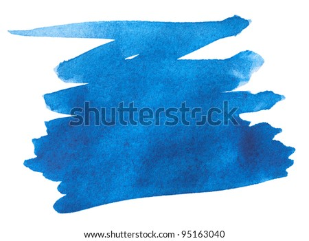 Blue watercolor paint stroke on white background