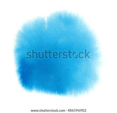 Blue watercolor texture stain with water colour paint smudge and brush strokes