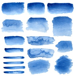 Blue watercolour abstract set on white background