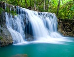 Blue waterfall in Kanjanaburi Thailand