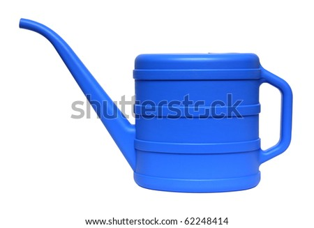 blue watering can isolated on white background - stock photo