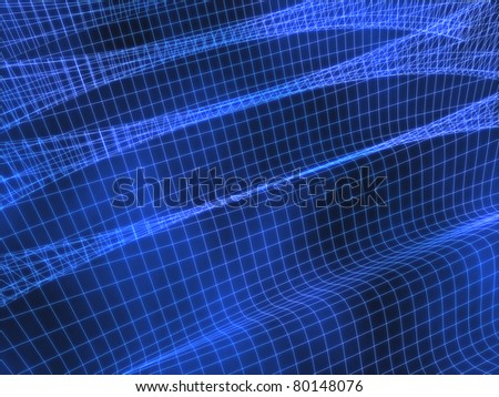Blue wave grid abstract background