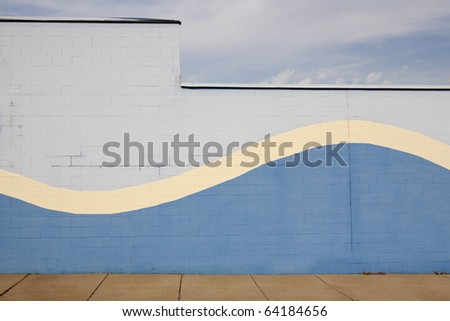 blue wave wall with sky