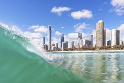 Blue waves breaking on Surfers Paradise beach, QLD, Australia