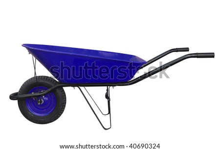 Blue Wheelbarrow isolated with clipping path