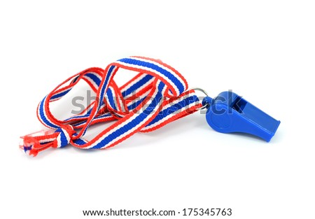 Blue whistle with Thailand national flag lanyard in heart shape on white background