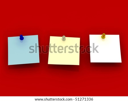 Blue, white and yellow sticky note and push pin on red background