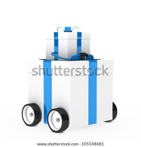 blue white christmas gift box figure vehicle