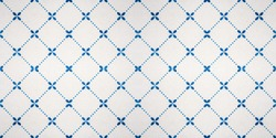 Blue white vintage retro geometric square mesh flower motif tiles texture background