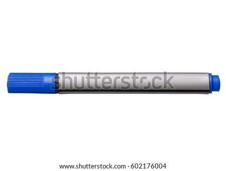 Blue whiteboard marker isolated on white background