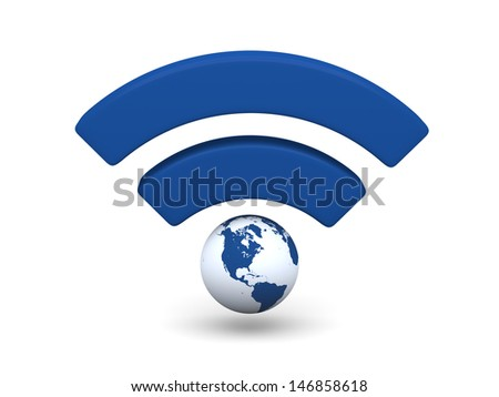 Blue WiFi symbol with planet Earth isolated on white background. Elements of this image furnished by NASA.