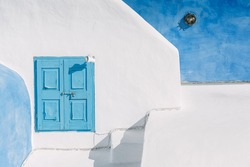Blue window in Oia, Thira island - known as Santorini - Greece.