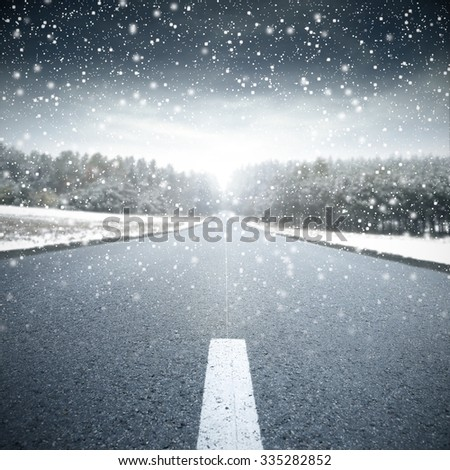 blue winter road