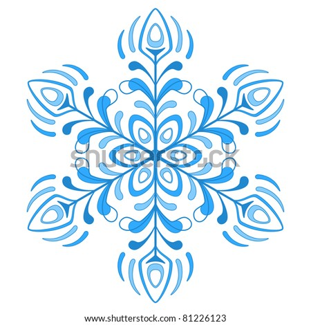 blue winter snowflake, monochrome contour on white background