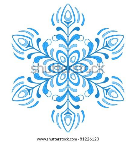 blue winter snowflake, monochrome contour on white background