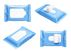 Blue wipes flow packs collection, isolated on white