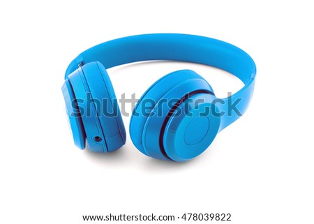 Blue wireless headphone isolated on white