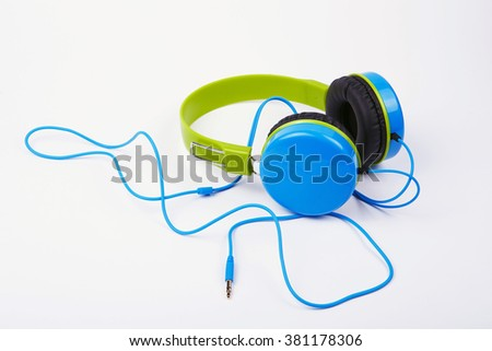 Blue with green Headphones on a white background #381178306
