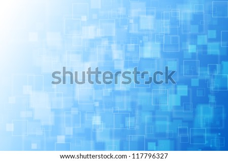 Blue with square abstract background.