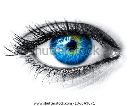 Blue woman eye macro shot - Shutterstock ID 106843871