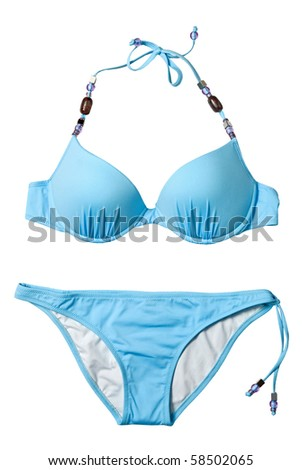 blue woman swimming suit isolated on white - stock photo