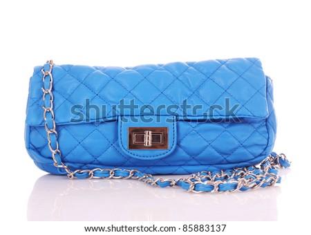 Blue women bag isolated on white background