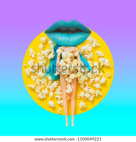 Blue women's lip instead of a head of the doll among the popcorn.  Contemporary art collage. Concept of memphis style posters. Abstract surrealism and minimalism  #1100049221