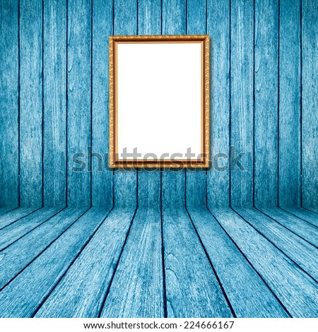 blue wood perspective background with frame photo in room interior.