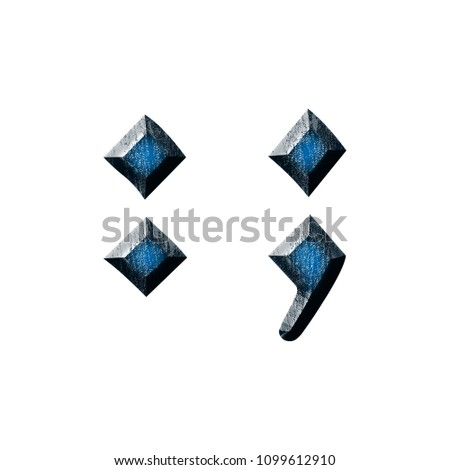 Blue Wood Semicolon Punctuation Mark In A 3D Illustration With Glossy Grain Texture Style