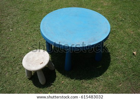 blue wood table #615483032
