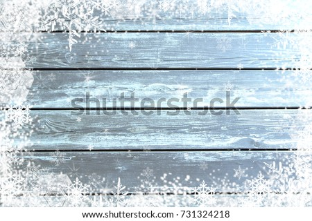 Blue wood texture with snow effect christmas background #731324218