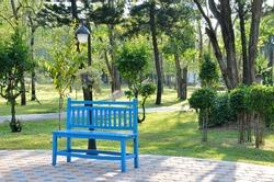 Blue wooden bench in garden