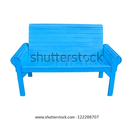 Blue wooden bench isolate on white background