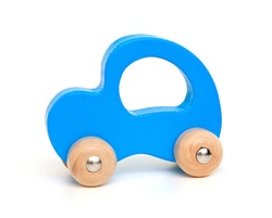 blue wooden car toy isolated on white background