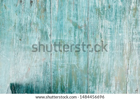 Blue Wooden Fence Blurry Copy Space Closeup Photo. Construct from Fencing Connected by Boards. Decorative Enhance the Appearance of a Property, Garden or Other Landscaping. Wood Table
