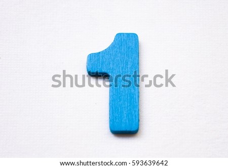 Blue wooden of number one isolated on white background. #593639642