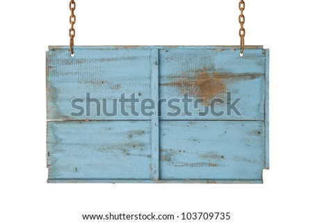 blue wooden sign on the chains on white.