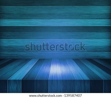 Blue Wooden Stage Background