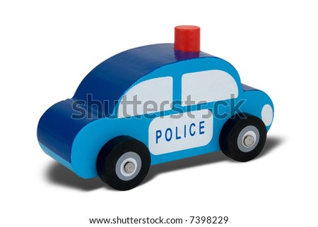 Blue wooden toy police car isolated over white with a clipping path