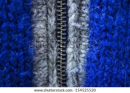 blue wool Knitting sweater with zipper