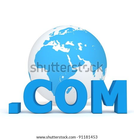 blue word .com in front of a blue and white globe