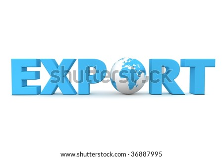 blue word Export with 3D globe replacing letter O