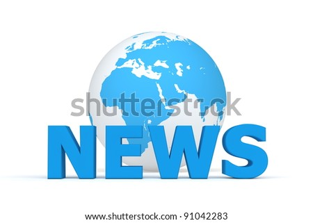 blue word NEWS in front of a blue and white globe