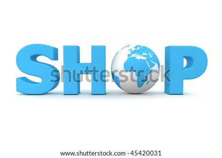 blue word Shop with 3D globe replacing letter O
