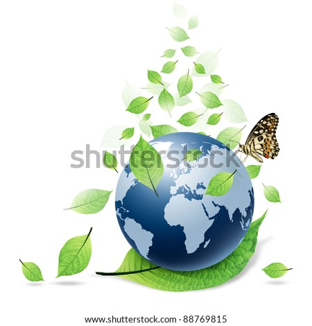 blue world and green leaf and butterfly isolated on white background