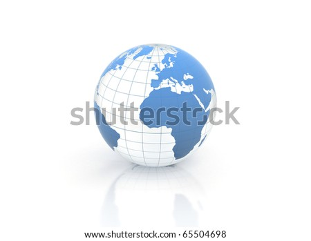 Blue world globe blue glass illustration