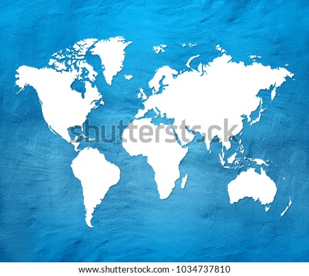 Actual Globe Map.Blue World Map Ez Canvas