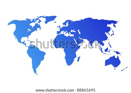 Blue World Map isolated on white background